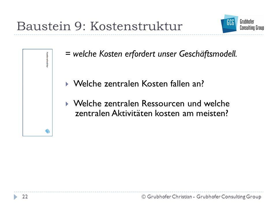 Baustein 9: Kostenstruktur 22© Grubhofer Christian - Grubhofer Consulting Group = welche Kosten erfordert unser Geschäftsmodell.  Welche zentralen Ko