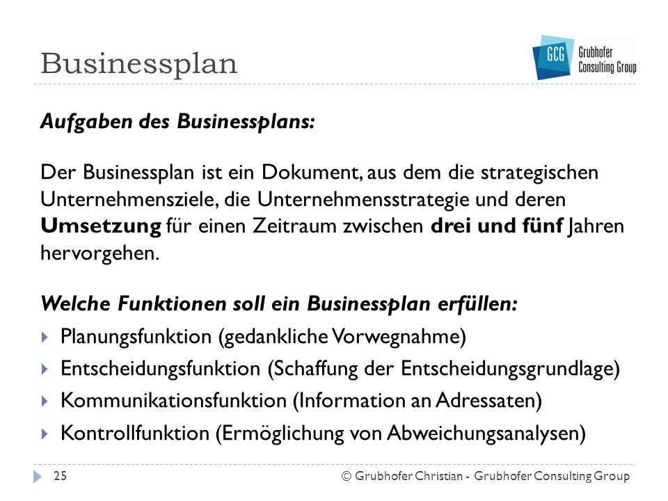 Businessplan 25© Grubhofer Christian - Grubhofer Consulting Group Aufgaben des Businessplans: Der Businessplan ist ein Dokument, aus dem die strategis