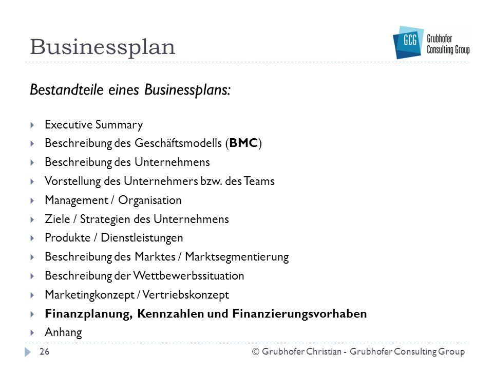 Businessplan 26© Grubhofer Christian - Grubhofer Consulting Group Bestandteile eines Businessplans:  Executive Summary  Beschreibung des Geschäftsmo