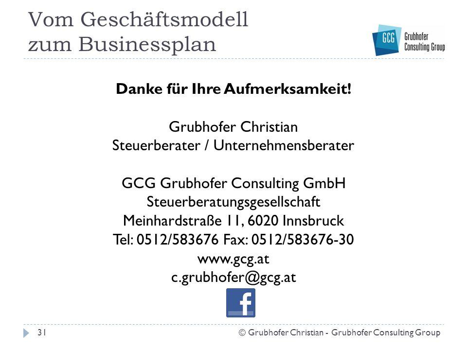 Vom Geschäftsmodell zum Businessplan Danke für Ihre Aufmerksamkeit! Grubhofer Christian Steuerberater / Unternehmensberater GCG Grubhofer Consulting G