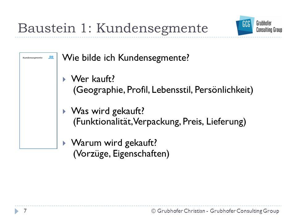Baustein 1: Kundensegmente Wie bilde ich Kundensegmente?  Wer kauft? (Geographie, Profil, Lebensstil, Persönlichkeit)  Was wird gekauft? (Funktional