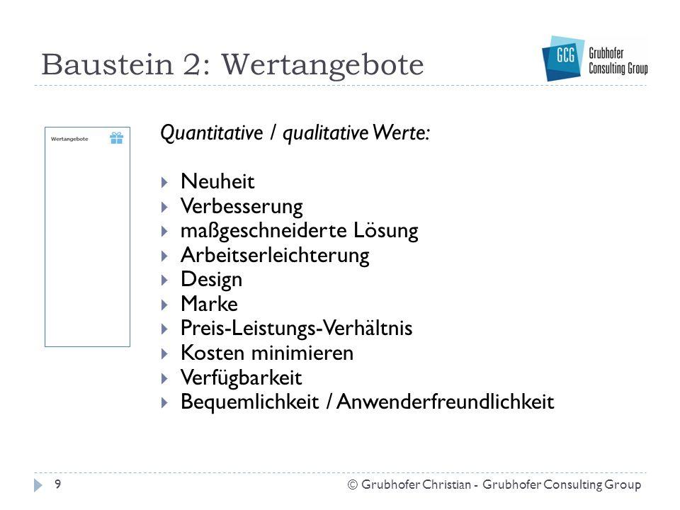 Baustein 2: Wertangebote 9© Grubhofer Christian - Grubhofer Consulting Group Quantitative / qualitative Werte:  Neuheit  Verbesserung  maßgeschneid