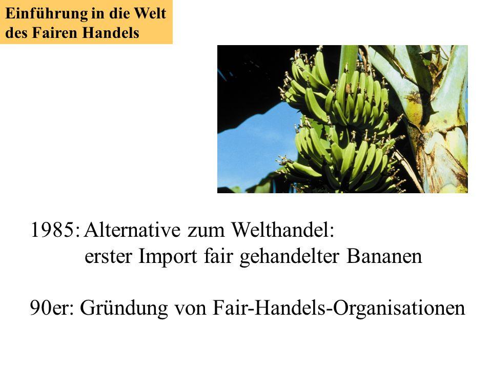 1985: Alternative zum Welthandel: erster Import fair gehandelter Bananen 90er: Gründung von Fair-Handels-Organisationen Einführung in die Welt des Fai