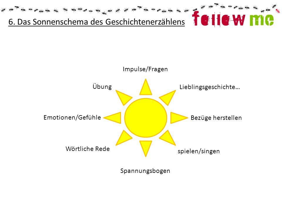 6. Das Sonnenschema des Geschichtenerzählens Übung Emotionen/Gefühle Wörtliche Rede Spannungsbogen spielen/singen Bezüge herstellen Lieblingsgeschicht