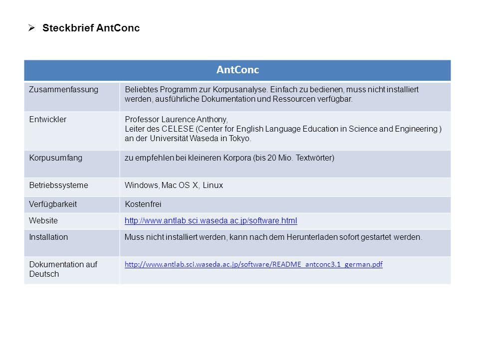  Steckbrief AntConc AntConc ZusammenfassungBeliebtes Programm zur Korpusanalyse. Einfach zu bedienen, muss nicht installiert werden, ausführliche Dok