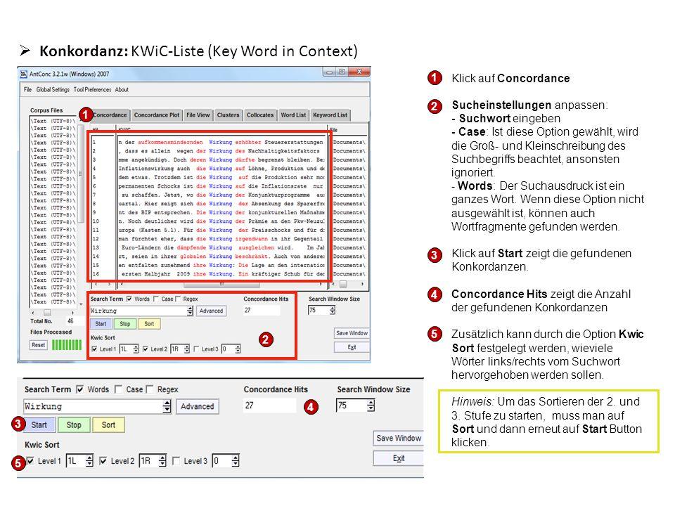  Konkordanz - Suchwort im Originalkontext anzeigen Klickt man auf das markierte Suchwort, wird es im Originaltext gezeigt (Reiter File View).