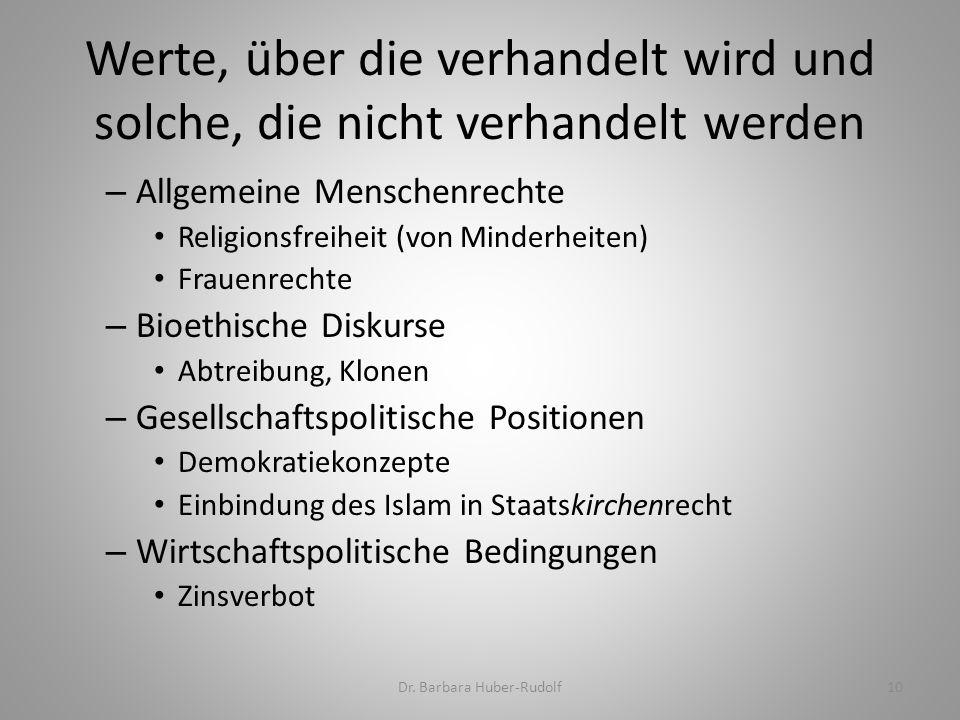 Werte, über die verhandelt wird und solche, die nicht verhandelt werden Dr. Barbara Huber-Rudolf10 – Allgemeine Menschenrechte Religionsfreiheit (von