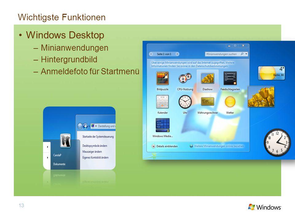 Wichtigste Funktionen Windows Desktop –Minianwendungen –Hintergrundbild –Anmeldefoto für Startmenü 13