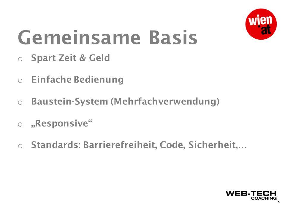 Basismodul: Eckpunkte wien.at als Dachmarke Grafik angelehnt an wien.at-CI (etwa Schriftart, Hintergrundfarben etc.) Projekttitel und ggf.