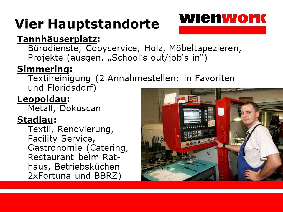 """Vier Hauptstandorte Tannhäuserplatz: Bürodienste, Copyservice, Holz, Möbeltapezieren, Projekte (ausgen. """"School's out/job's in"""") Simmering: Textilrein"""