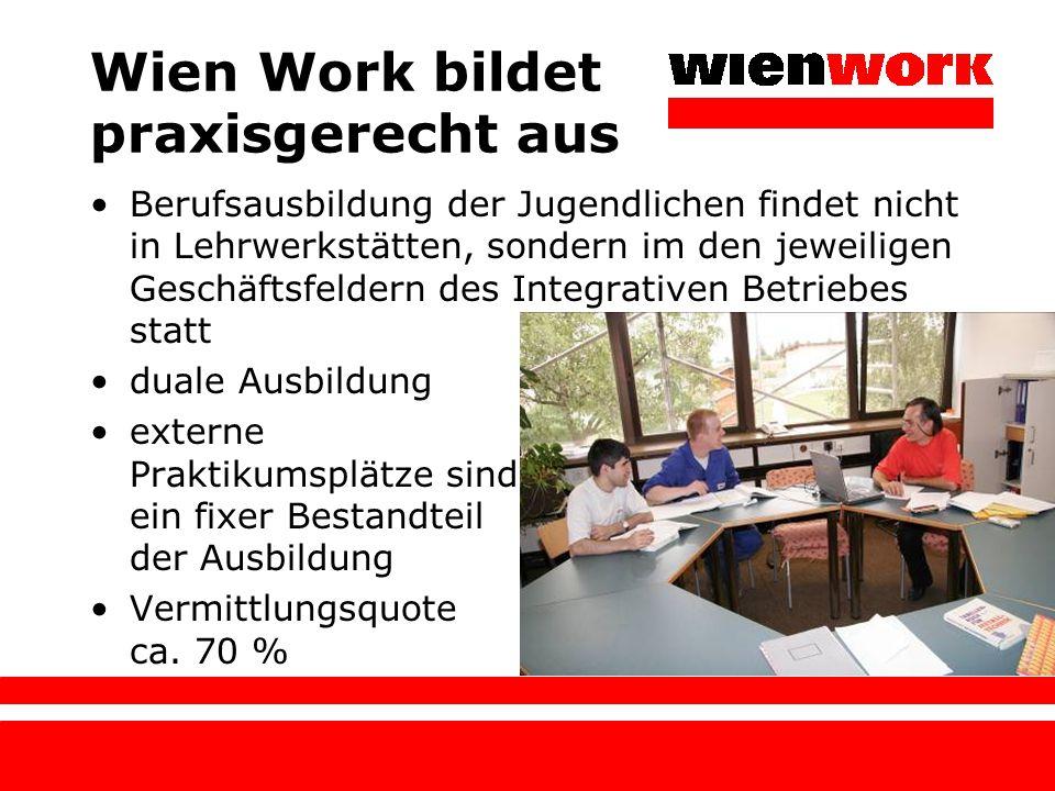 Wien Work bildet praxisgerecht aus Berufsausbildung der Jugendlichen findet nicht in Lehrwerkstätten, sondern im den jeweiligen Geschäftsfeldern des I