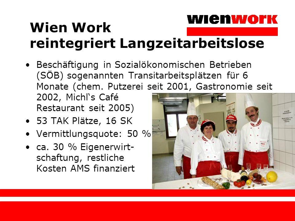 Wien Work reintegriert Langzeitarbeitslose Beschäftigung in Sozialökonomischen Betrieben (SÖB) sogenannten Transitarbeitsplätzen für 6 Monate (chem. P