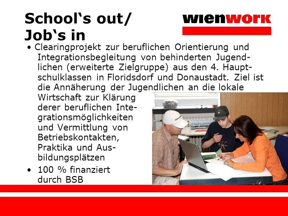 School's out/ Job's in Clearingprojekt zur beruflichen Orientierung und Integrationsbegleitung von behinderten Jugend- lichen (erweiterte Zielgruppe)