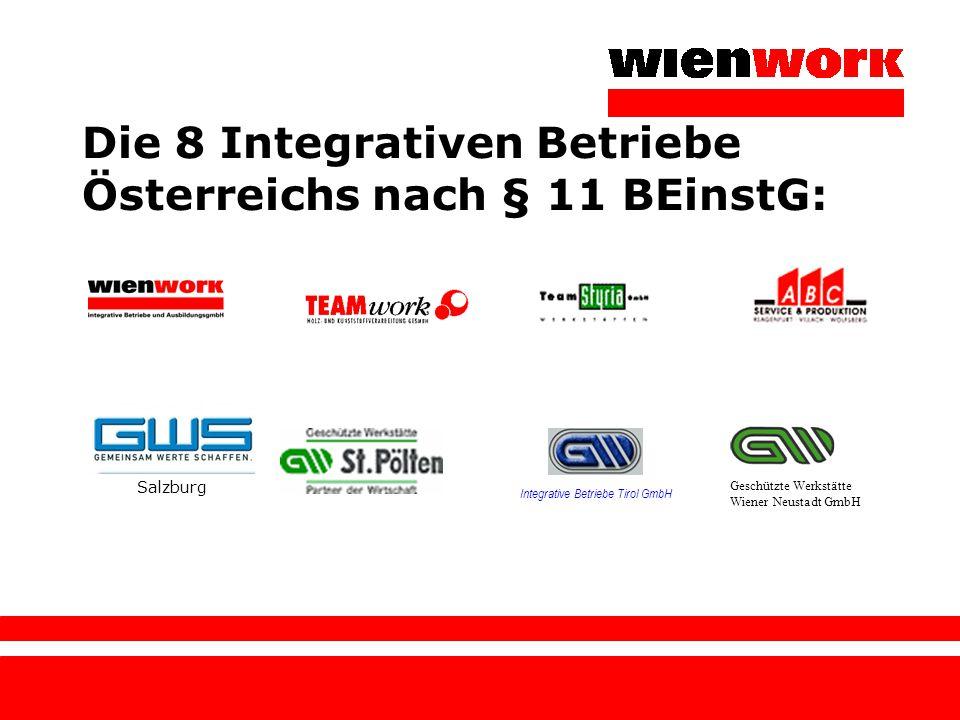 Die 8 Integrativen Betriebe Österreichs nach § 11 BEinstG: Integrative Betriebe Tirol GmbH Geschützte Werkstätte Wiener Neustadt GmbH Salzburg