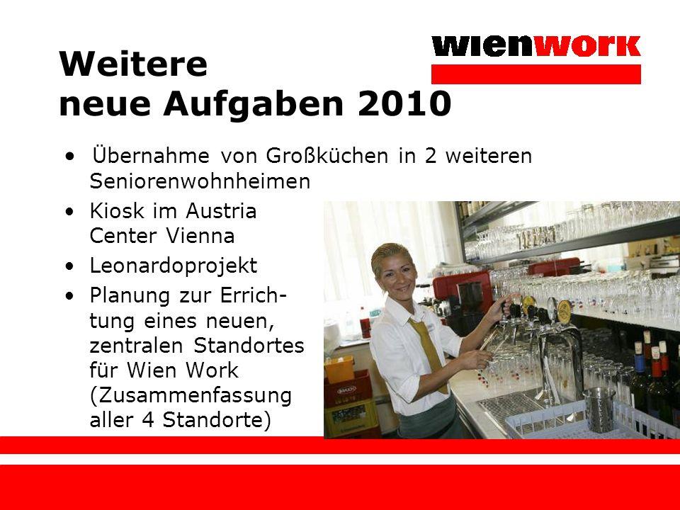 Weitere neue Aufgaben 2010 Übernahme von Großküchen in 2 weiteren Seniorenwohnheimen Kiosk im Austria Center Vienna Leonardoprojekt Planung zur Errich