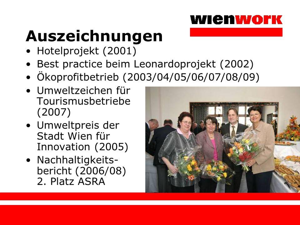 Auszeichnungen Hotelprojekt (2001) Best practice beim Leonardoprojekt (2002) Ökoprofitbetrieb (2003/04/05/06/07/08/09) Umweltzeichen für Tourismusbetr
