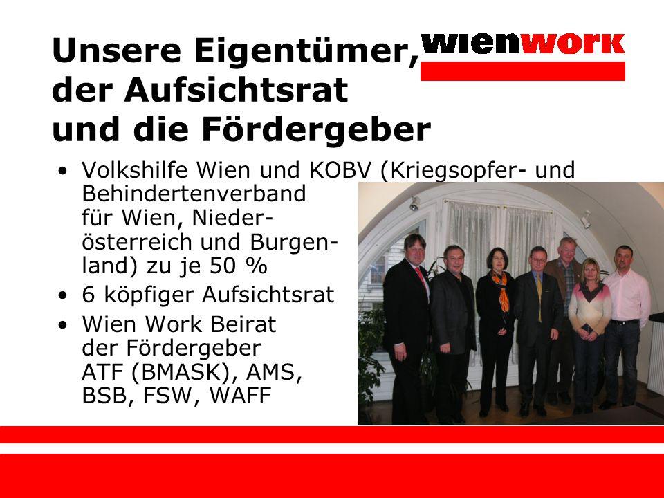 Unsere Eigentümer, der Aufsichtsrat und die Fördergeber Volkshilfe Wien und KOBV (Kriegsopfer- und Behindertenverband für Wien, Nieder- österreich und