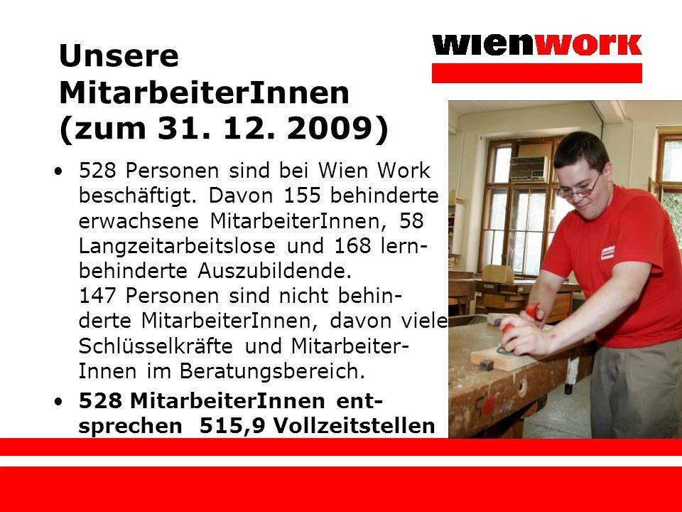Unsere MitarbeiterInnen (zum 31. 12. 2009) 528 Personen sind bei Wien Work beschäftigt. Davon 155 behinderte erwachsene MitarbeiterInnen, 58 Langzeita