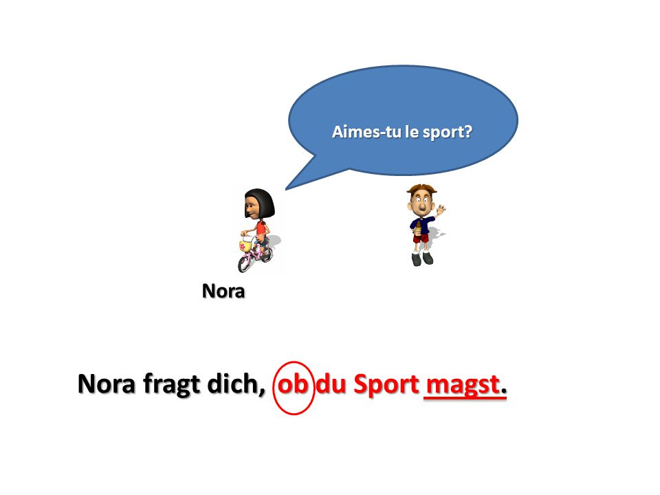 Nora Aimes-tu le sport? Nora fragt dich,ob du Sport magst.