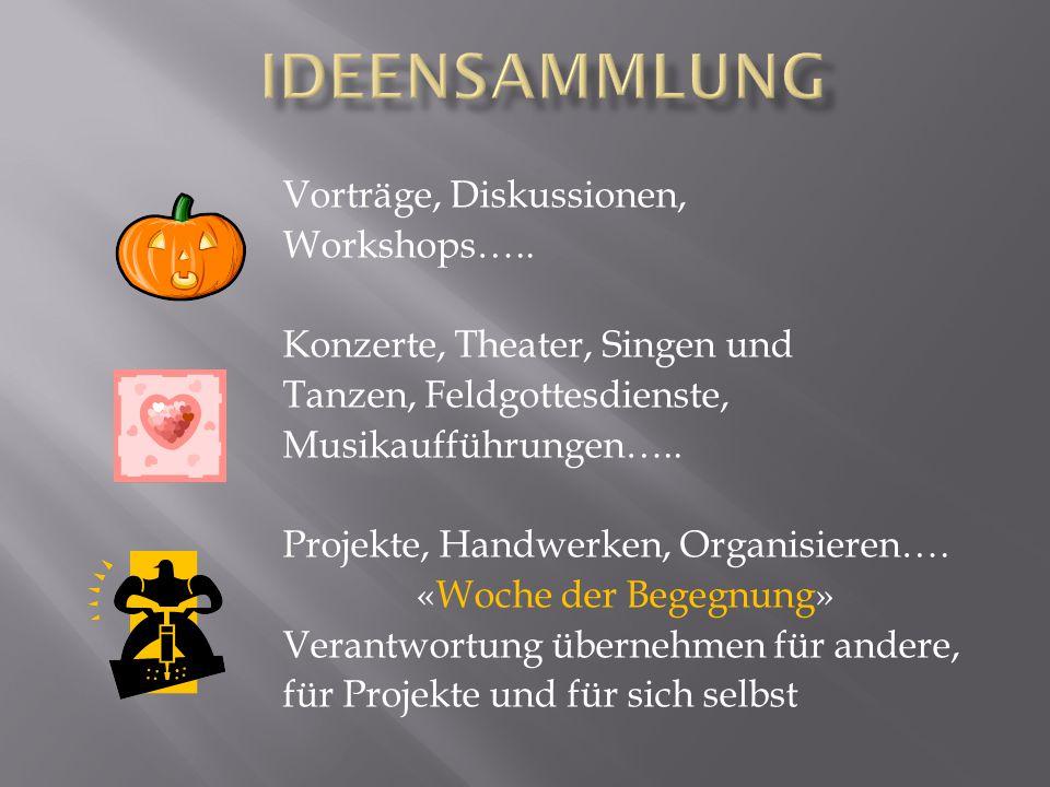 Vorträge, Diskussionen, Workshops…..