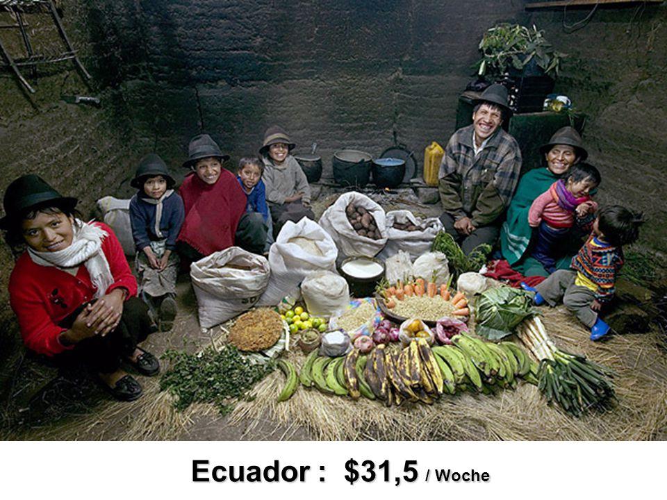 Ecuador : $31,5 / Woche