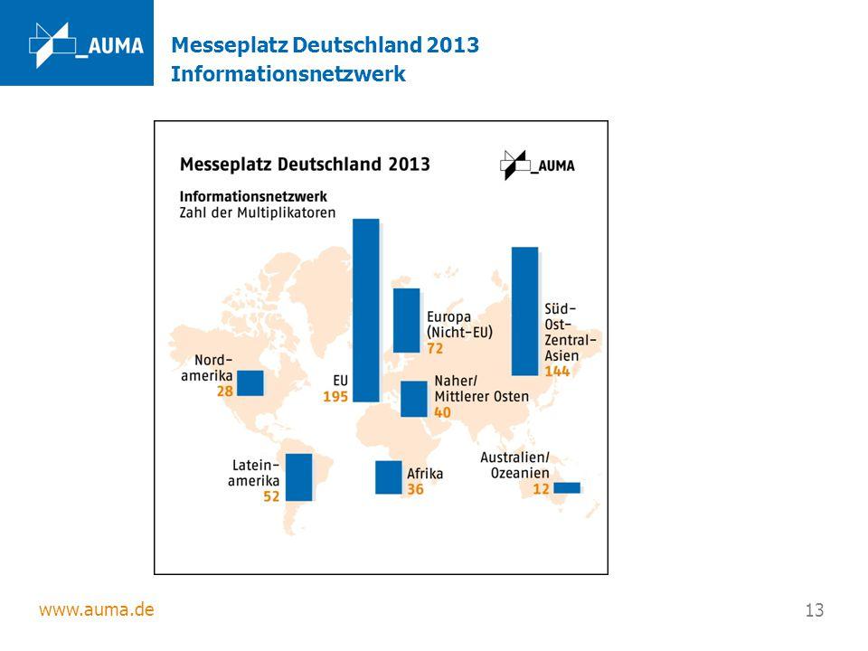 www.auma.de 13 Messeplatz Deutschland 2013 Informationsnetzwerk