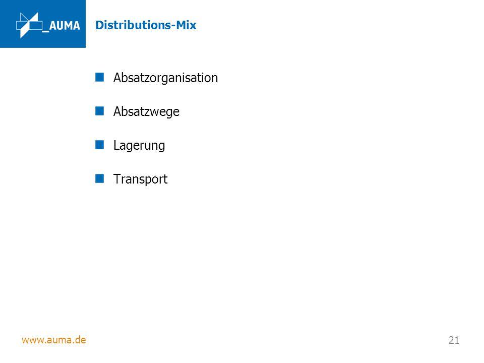 www.auma.de 21 Distributions-Mix Absatzorganisation Absatzwege Lagerung Transport