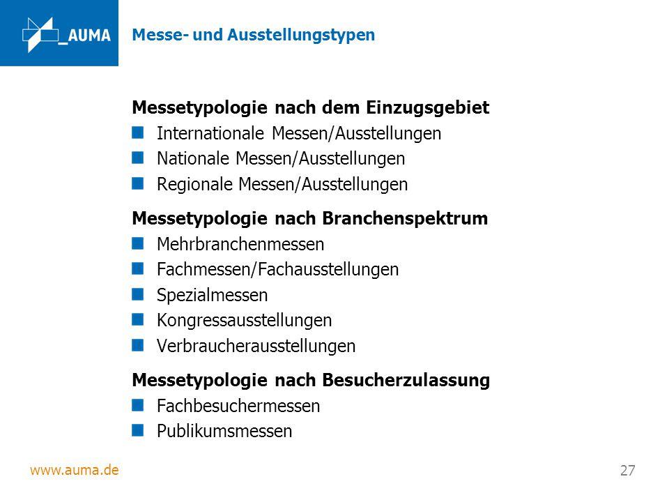 www.auma.de 27 Messe- und Ausstellungstypen Messetypologie nach dem Einzugsgebiet Internationale Messen/Ausstellungen Nationale Messen/Ausstellungen R