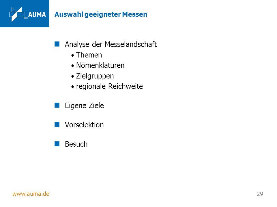 www.auma.de 29 Auswahl geeigneter Messen Analyse der Messelandschaft Themen Nomenklaturen Zielgruppen regionale Reichweite Eigene Ziele Vorselektion B