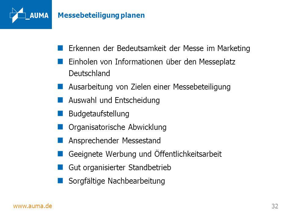 www.auma.de 32 Messebeteiligung planen Erkennen der Bedeutsamkeit der Messe im Marketing Einholen von Informationen über den Messeplatz Deutschland Au
