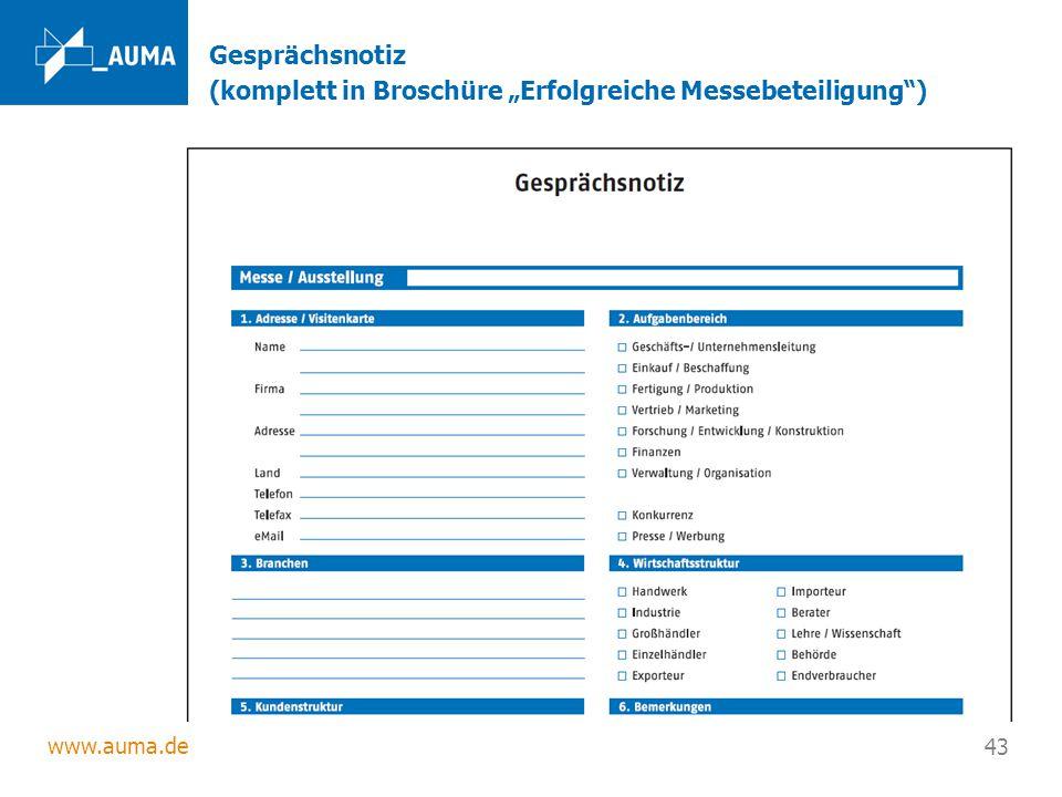 """www.auma.de 43 Gesprächsnotiz (komplett in Broschüre """"Erfolgreiche Messebeteiligung"""")"""