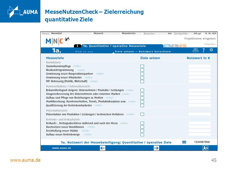 www.auma.de 45 MesseNutzenCheck – Zielerreichung quantitative Ziele