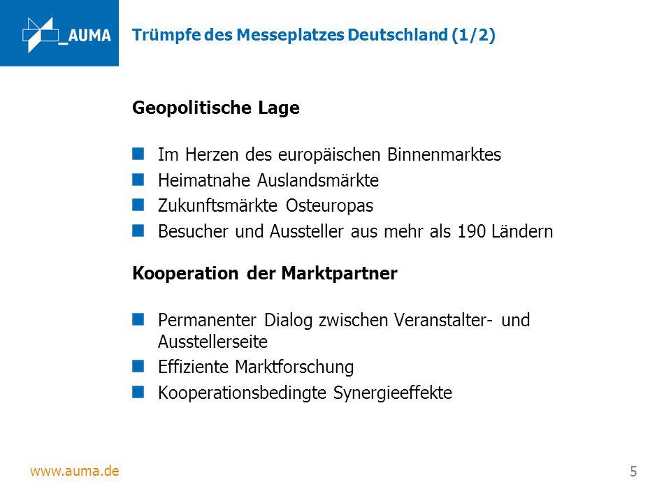 www.auma.de 5 Trümpfe des Messeplatzes Deutschland (1/2) Geopolitische Lage Im Herzen des europäischen Binnenmarktes Heimatnahe Auslandsmärkte Zukunft