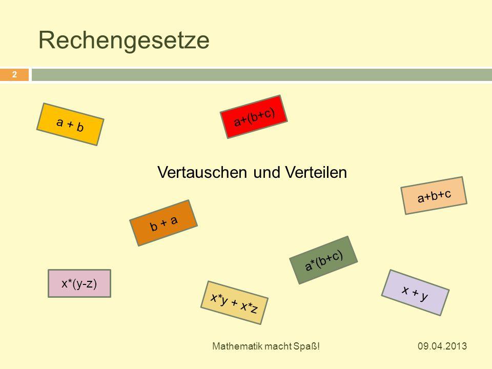 Vertauschen und Verteilen x*(y-z) x*y + x*z a+b+c a*(b+c) b + a a+(b+c) a + b x + y 09.04.2013 2 Mathematik macht Spaß!