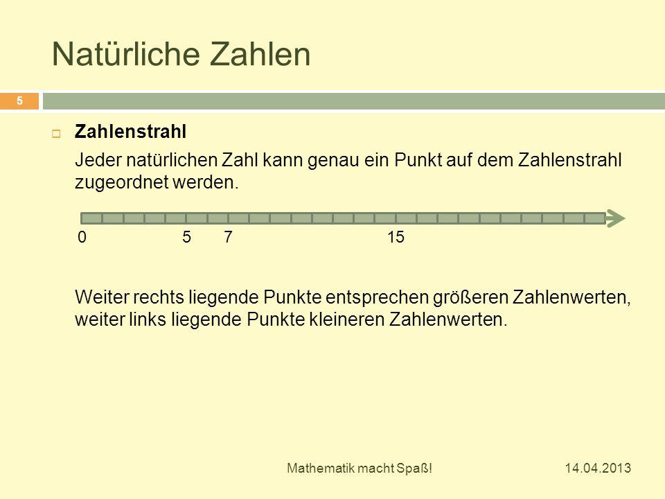 Natürliche Zahlen 14.04.2013 Mathematik macht Spaß! 5  Zahlenstrahl Jeder natürlichen Zahl kann genau ein Punkt auf dem Zahlenstrahl zugeordnet werde