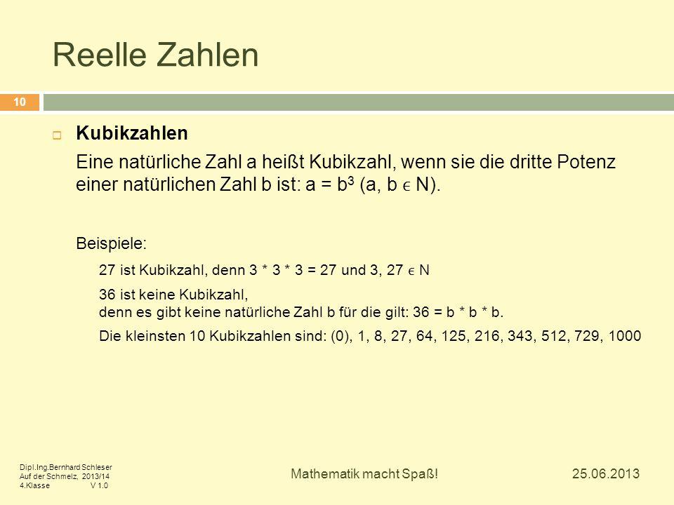 Reelle Zahlen  Kubikzahlen Eine natürliche Zahl a heißt Kubikzahl, wenn sie die dritte Potenz einer natürlichen Zahl b ist: a = b 3 (a, b N). Beispie