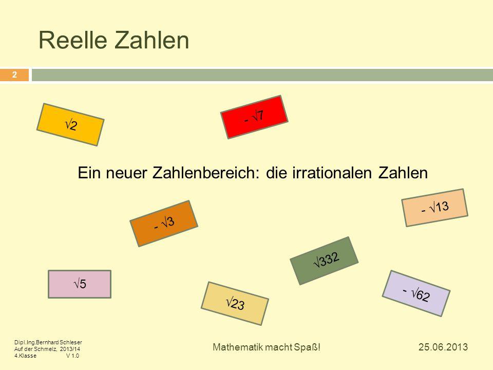 Ein neuer Zahlenbereich: die irrationalen Zahlen √5 √23 - √13 √332 - √3 - √7 √2 - √62 25.06.2013 2 Mathematik macht Spaß! Dipl.Ing.Bernhard Schleser A