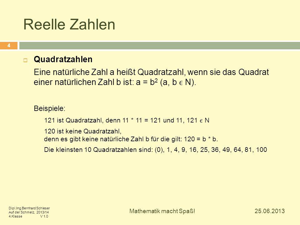 Reelle Zahlen  Quadratzahlen Eine natürliche Zahl a heißt Quadratzahl, wenn sie das Quadrat einer natürlichen Zahl b ist: a = b 2 (a, b N). Beispiele
