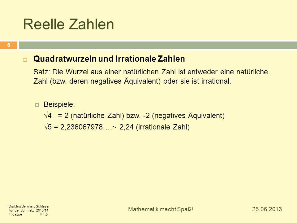 Reelle Zahlen  Quadratwurzeln und Irrationale Zahlen Satz: Die Wurzel aus einer natürlichen Zahl ist entweder eine natürliche Zahl (bzw. deren negati