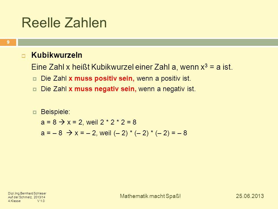 Reelle Zahlen  Kubikwurzeln Eine Zahl x heißt Kubikwurzel einer Zahl a, wenn x 3 = a ist.  Die Zahl x muss positiv sein, wenn a positiv ist.  Die Z