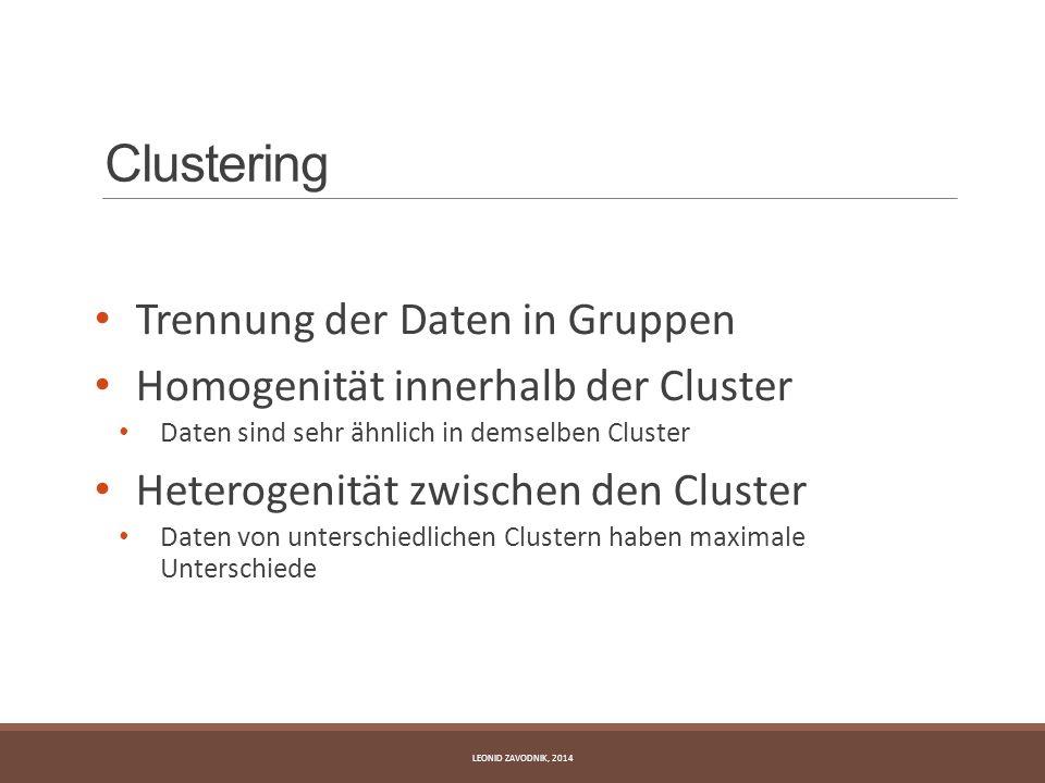 Clustering Trennung der Daten in Gruppen Homogenität innerhalb der Cluster Daten sind sehr ähnlich in demselben Cluster Heterogenität zwischen den Clu