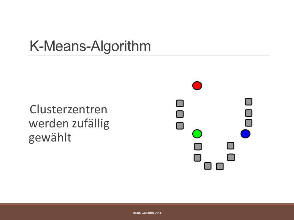 K-Means-Algorithm Clusterzentren werden zufällig gewählt LEONID ZAVODNIK, 2014