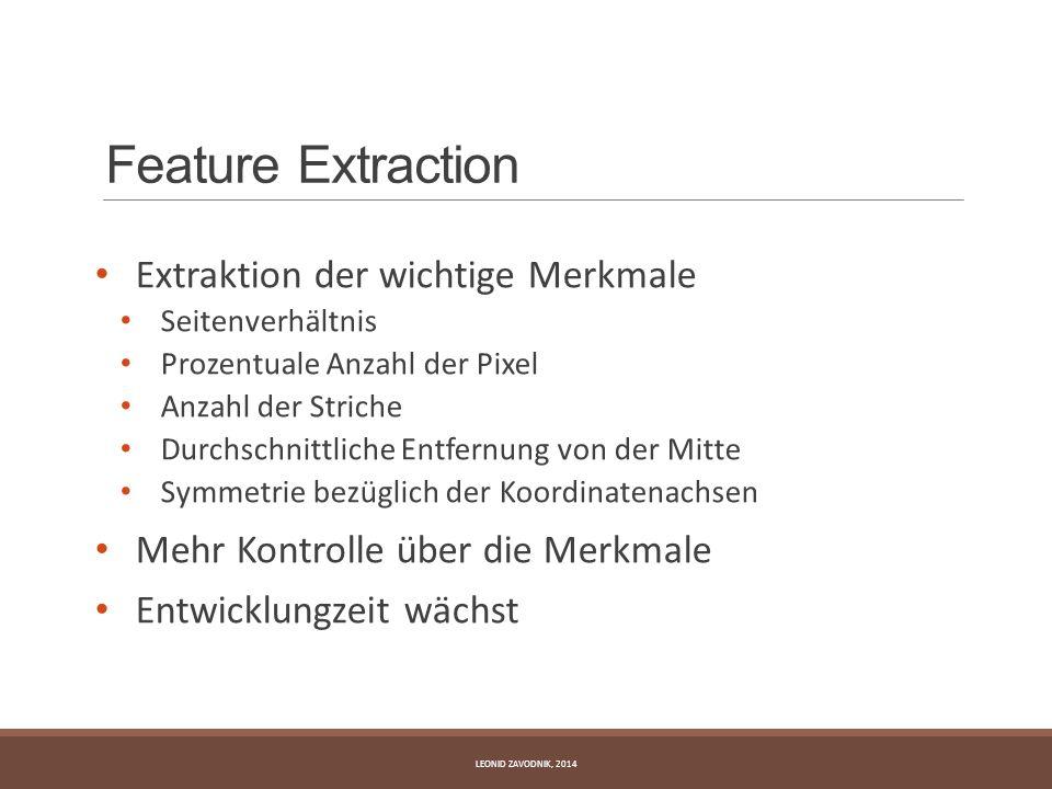 Feature Extraction Extraktion der wichtige Merkmale Seitenverhältnis Prozentuale Anzahl der Pixel Anzahl der Striche Durchschnittliche Entfernung von