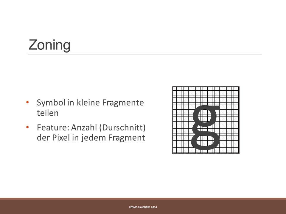 Zoning Symbol in kleine Fragmente teilen Feature: Anzahl (Durschnitt) der Pixel in jedem Fragment LEONID ZAVODNIK, 2014 g