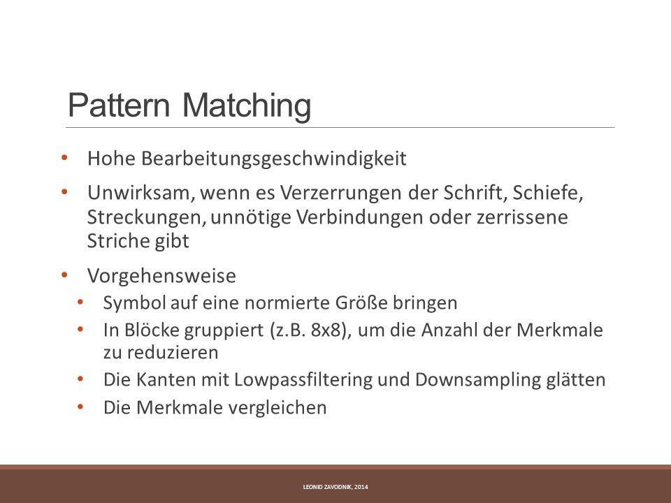 Pattern Matching Hohe Bearbeitungsgeschwindigkeit Unwirksam, wenn es Verzerrungen der Schrift, Schiefe, Streckungen, unnötige Verbindungen oder zerris