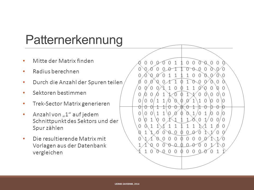 Patternerkennung Mitte der Matrix finden Radius berechnen Durch die Anzahl der Spuren teilen Sektoren bestimmen Trek-Sector Matrix generieren Anzahl v