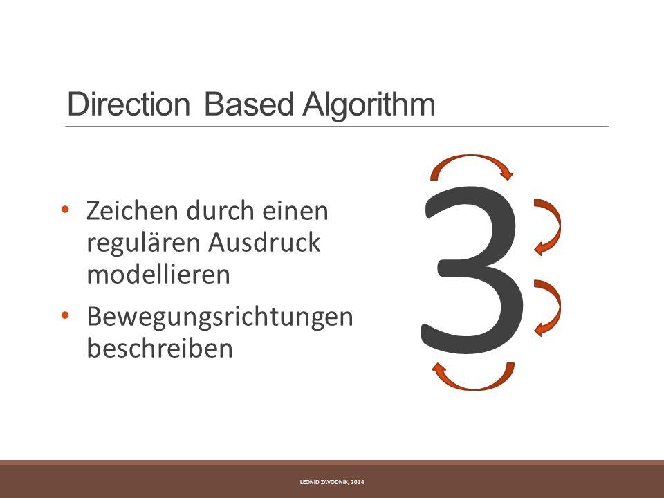 Direction Based Algorithm Zeichen durch einen regulären Ausdruck modellieren Bewegungsrichtungen beschreiben 3 LEONID ZAVODNIK, 2014