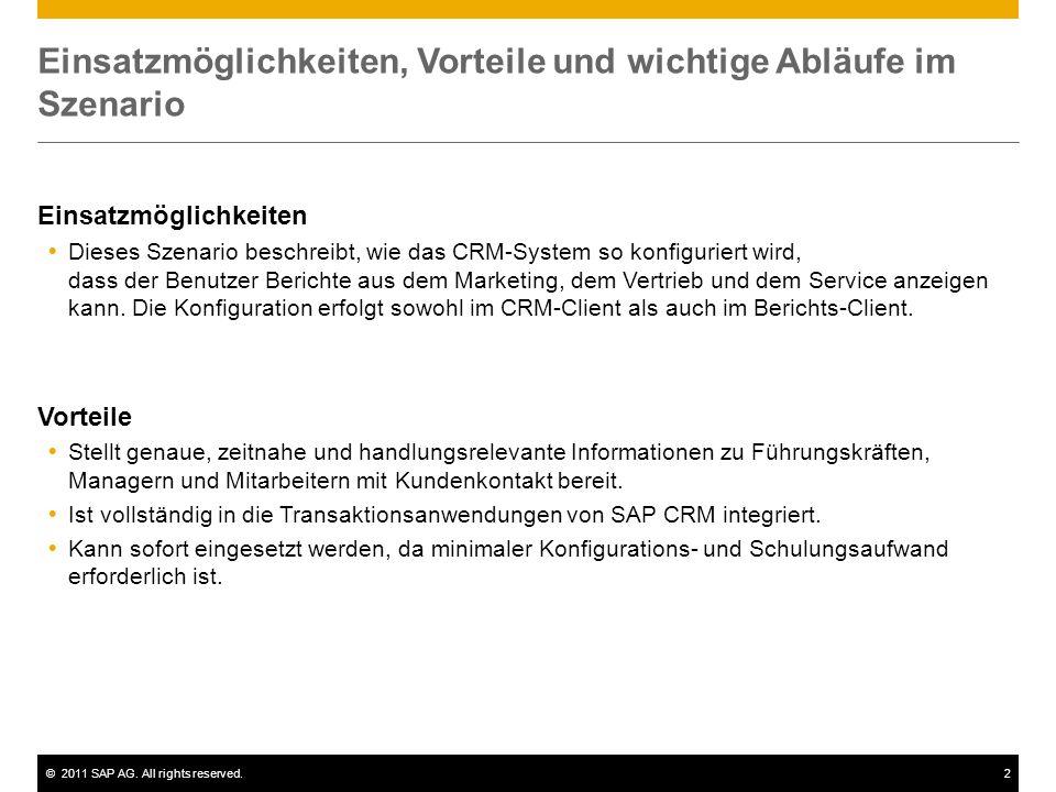 ©2011 SAP AG. All rights reserved.2 Einsatzmöglichkeiten, Vorteile und wichtige Abläufe im Szenario Einsatzmöglichkeiten  Dieses Szenario beschreibt,