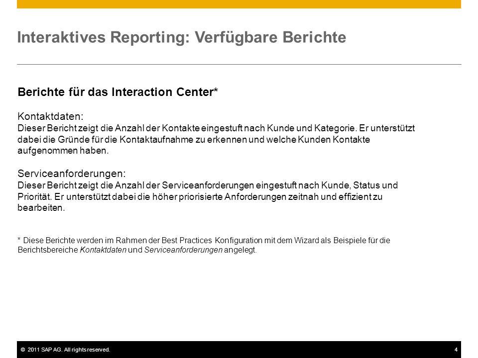 ©2011 SAP AG. All rights reserved.4 Interaktives Reporting: Verfügbare Berichte Berichte für das Interaction Center* Kontaktdaten: Dieser Bericht zeig
