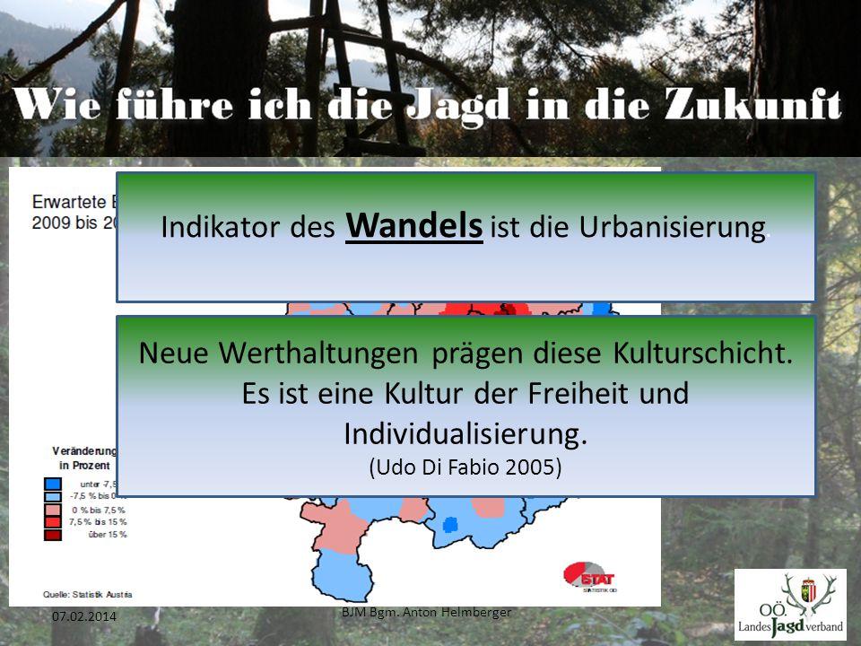 BJM Bgm. Anton Helmberger 14 07.02.2014 Indikator des Wandels ist die Urbanisierung. Neue Werthaltungen prägen diese Kulturschicht. Es ist eine Kultur